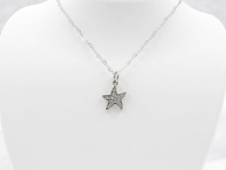 "Sterling Silver 18"" Starfish Pendant"