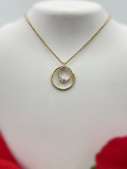 "14K Yellow Gold .12cttw Round Double Circle 18"" Necklace"