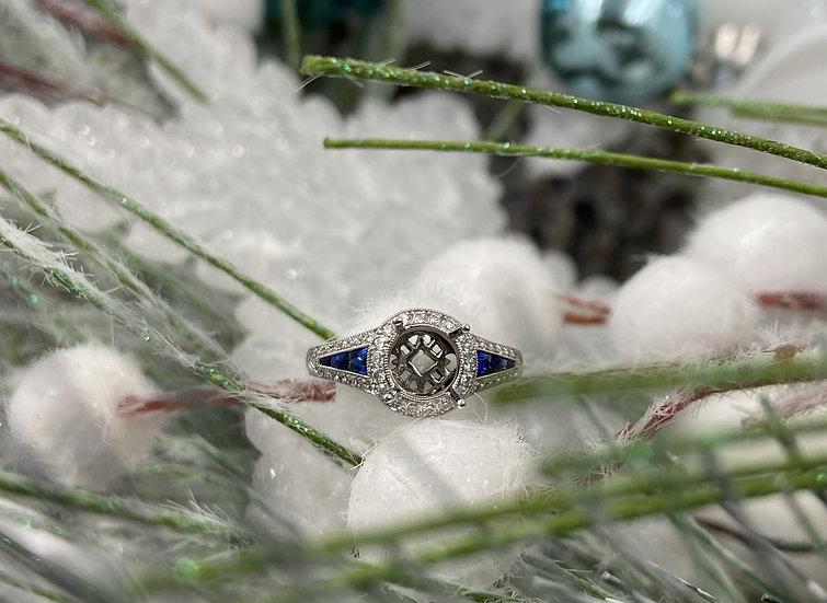 14K White Gold Sapphire and Diamond Semi Mount