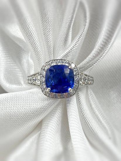 18k White Gold 2.1ct Cushion Cut Sapphire Ring