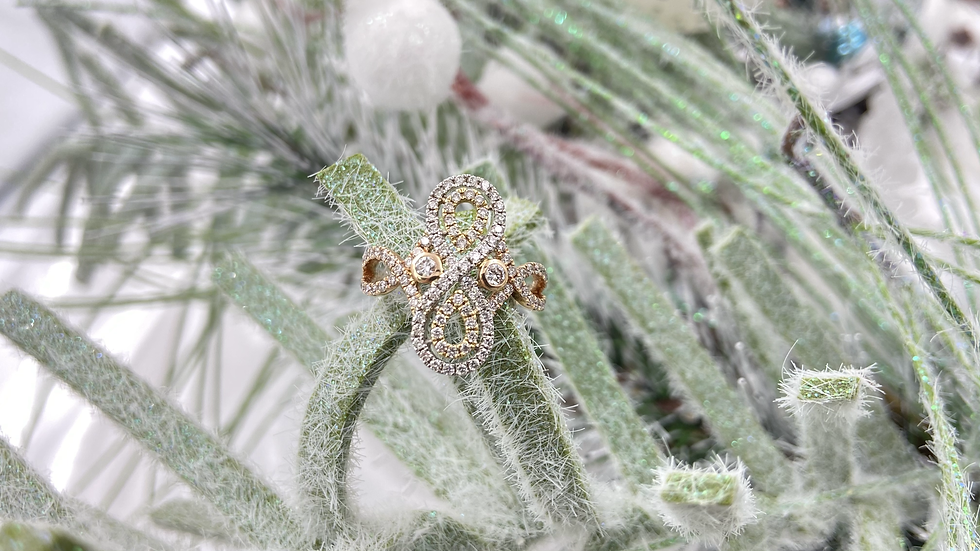 14K Rose and White Gold Diamond Ring