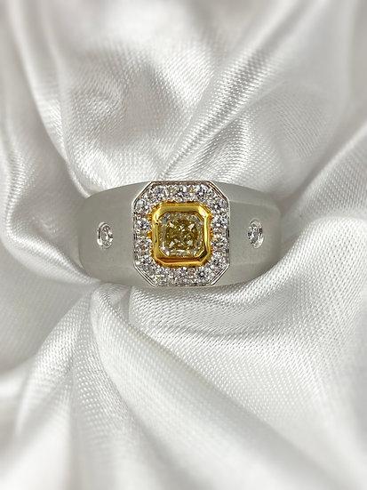 14k White and Yellow Gold Yellow Diamond Ring
