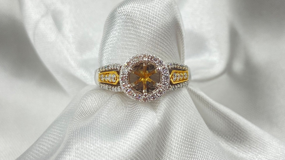 14K Two Tone White Gold 1/2cttw Diamond Halo Semi Mount