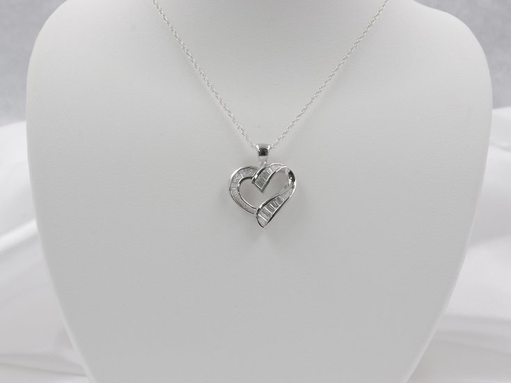 "Sterling Silver Heart Pendant with 20"" Chain"