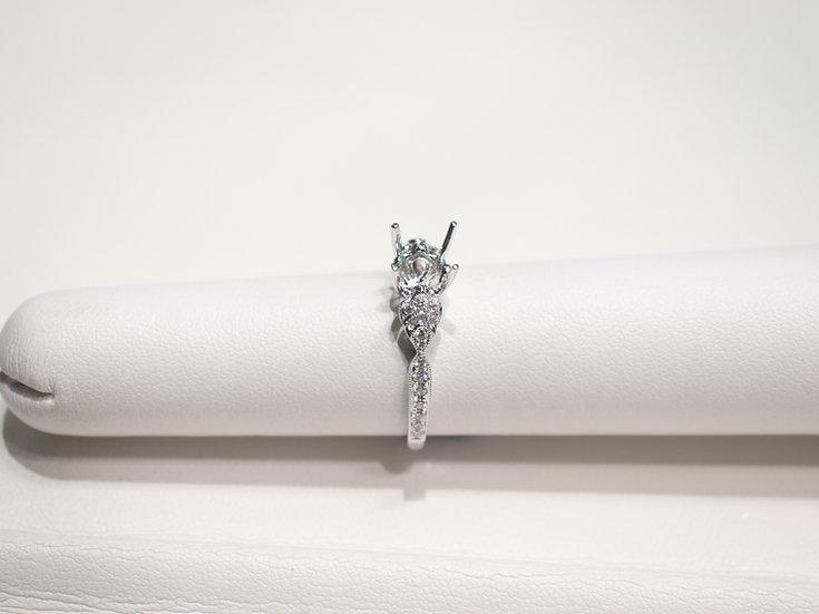 18K White Gold .18cttw Round Diamond Milgrain Engagement Ring