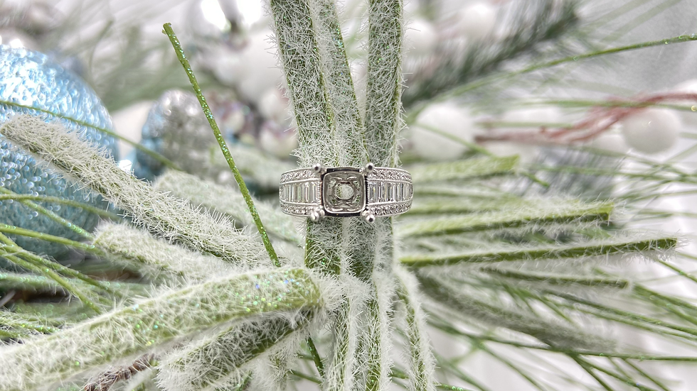 14K White Gold Baguette and Round Diamond 1.09cttw Semi Mount