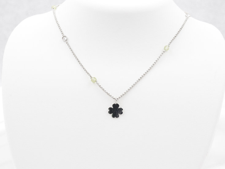 "Sterling Silver 17"" Cubic Zirconia Clover Necklace"