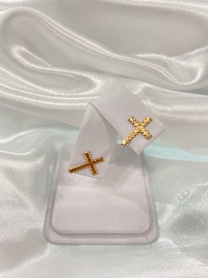 14K Yellow Gold Diamond Cut 13x9 cross earrings