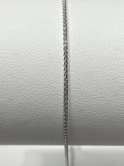 "14K White Gold .8mm 20"" Diamond Cut Adjustable Wheat Chain"