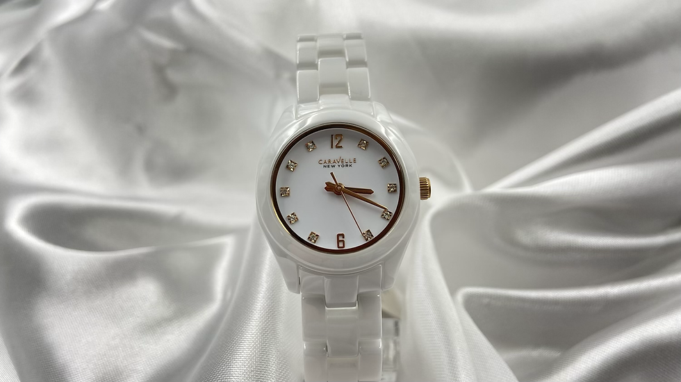 Caravelle White Ceramic Women's Watch