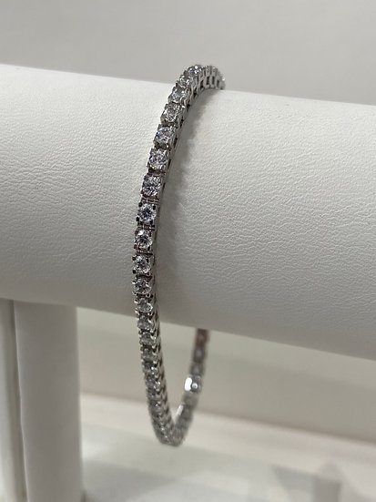 14K White Gold 3.5cttw Round Brilliant Diamond Tennis Bracelet