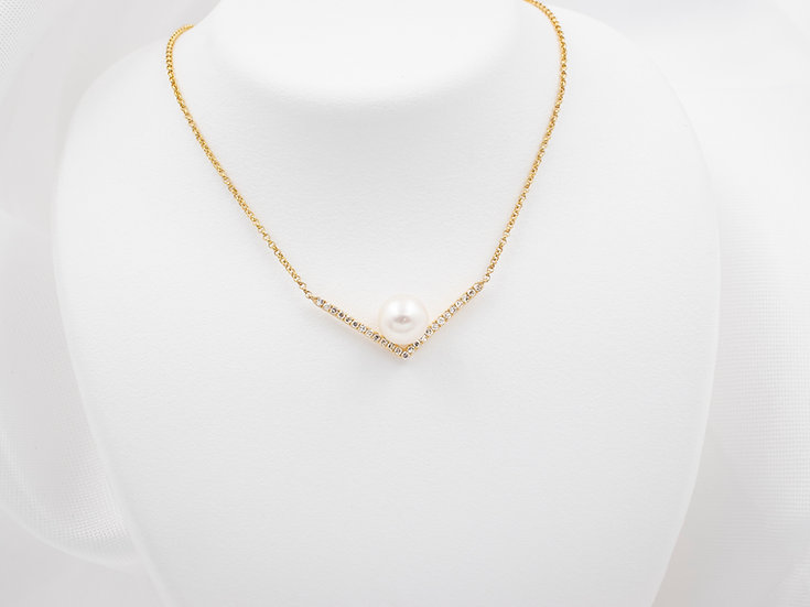 14K Yellow Gold .13cttw Diamonds with 7mm Pearl Pendant