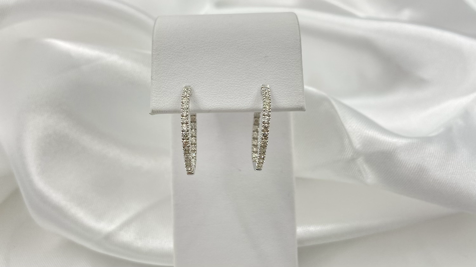 14K White Gold 1.0cttw Double Sided Hoop Earrings