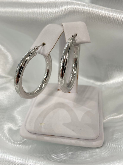 10K White Gold 4mm Tube Hoop Earrings