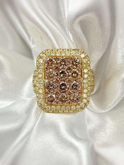 18k Yellow Gold 5.74ctw Sunflower Diamond Ring