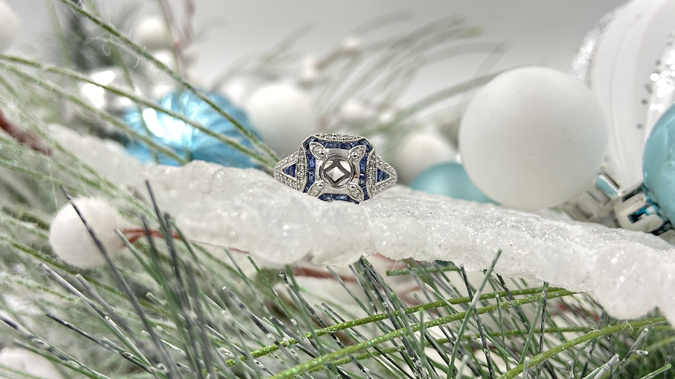 18K White Gold Diamond and Sapphire Semi Mount