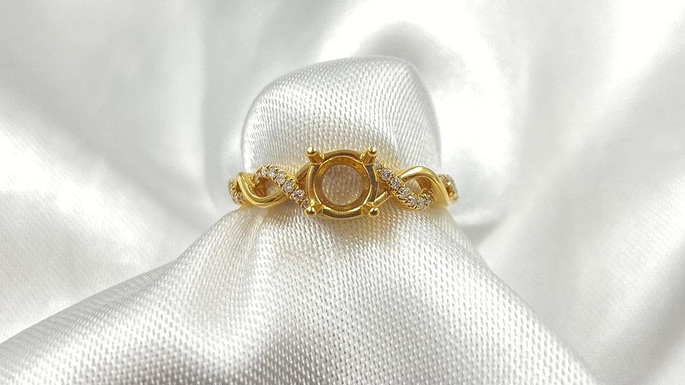 18K Yellow Gold .10cttw Infinity Semi Mount for 5.8mm Round Diamond