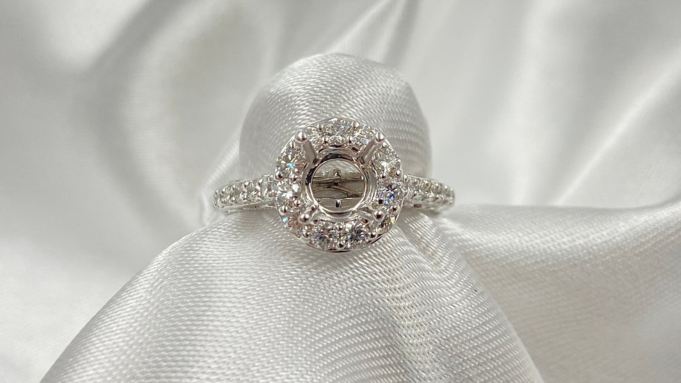 18K White Gold .79cttw Round Diamond Halo Engagement Ring