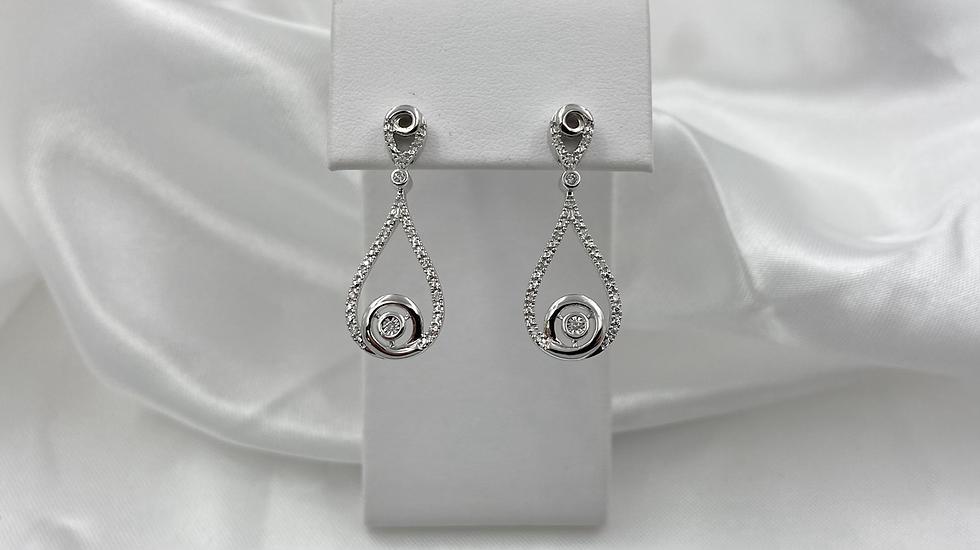14K White Gold .13cttw Round Diamond Teardrop Dangle Earrings
