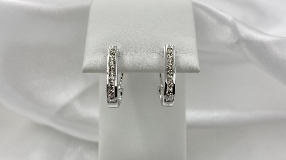 10K White Gold .50cttw Round Diamond Channel Omega Earrings