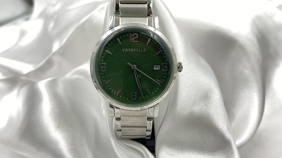 Caravelle Mens Green Face Watch