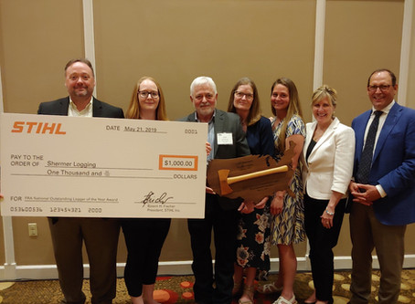 SHERMER LOGGING RECOGNIZED AS NATIONAL OUTSTANDING LOGGER: DONATES AWARD TO LOG AND LOAD FOR KIDS