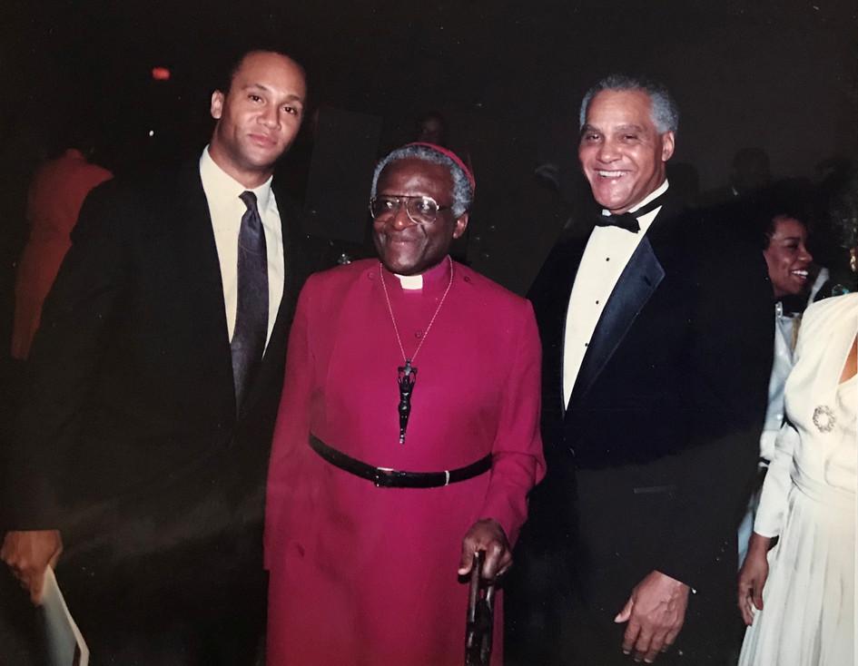 Adam Kennedy with Desmond Tutu and Dr. Joseph Kennedy
