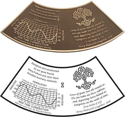 curved bronze plaque