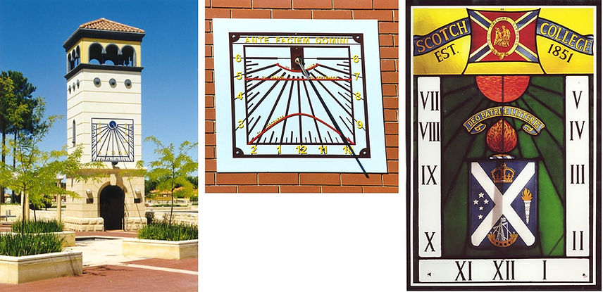 vertical sundial stained glass