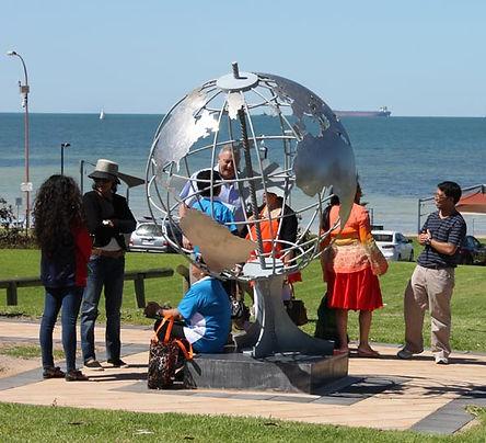 large steel world globe