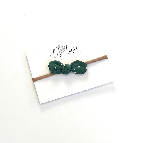 Evergreen Dotty Little Bow Headband