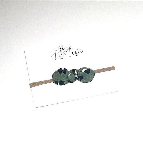 Green Lynx Print Little Bow Headband