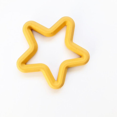 Mustard Gold Star Silicone Teether