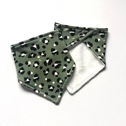 Green Lynx Print Bandana Dribble Bib