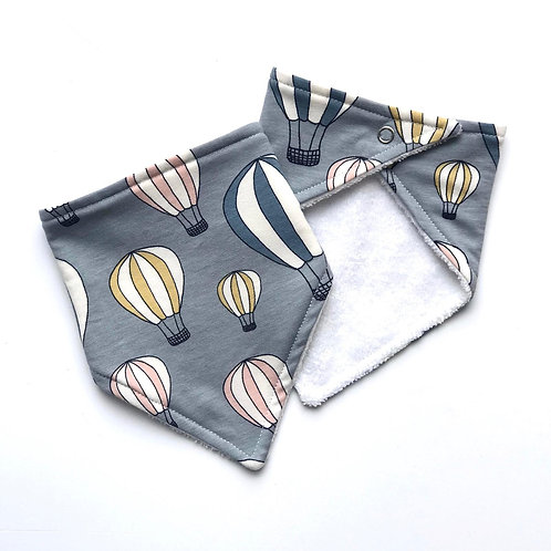 Grey Hot Air Balloon Bandana Dribble Bib