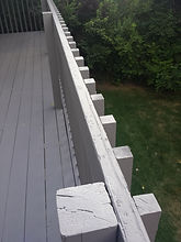 Deck railing replaced as part of a roof hail storm claim Englewood Colorado