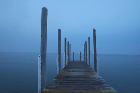 boardwalk foggy