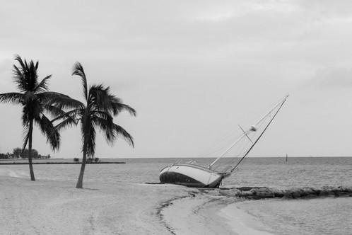 black and white shipwreck