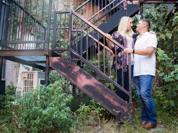 rustic stair couple