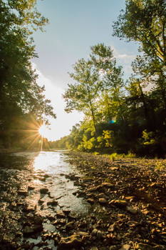 river stream sunset