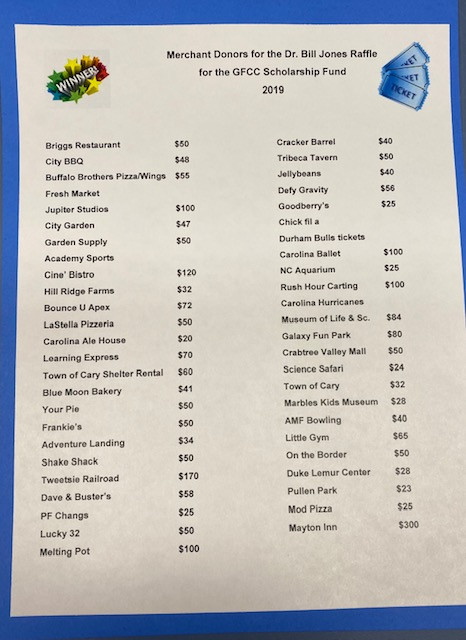 THANK YOU to the Merchant Donors for Your Donations to the 2019 Basket Raffle Fundraiser.