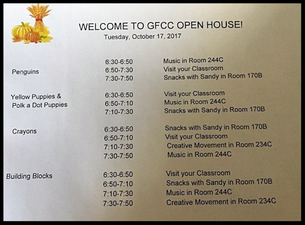 First Night for Open House at GFCC; Tuesday, October 17, 2017; 6:30 - 7:50