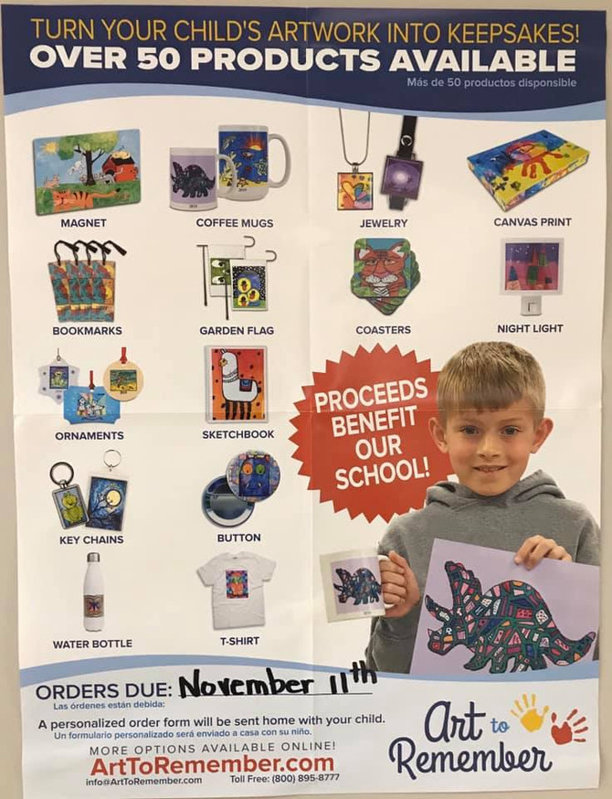 🎨Art to Remember Orders Are Due Wednesday, November 13.