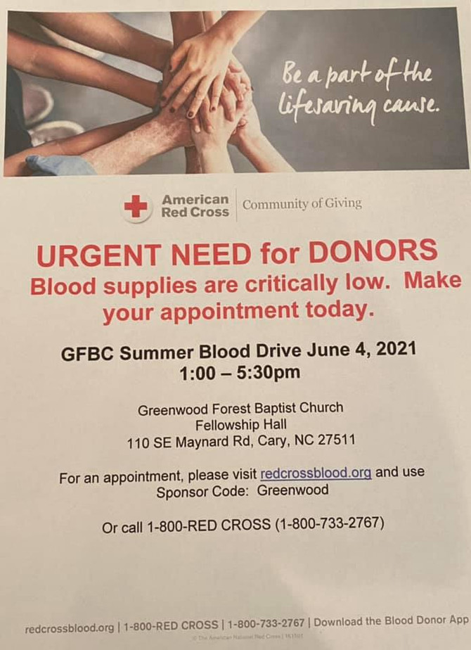 🍎 Mark Your Calendars for GFBC's Summer Blood Drive!