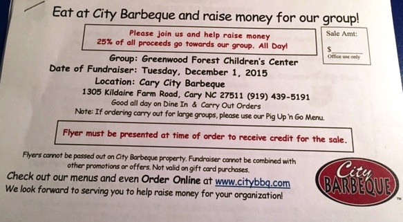 Eat at City Barbeque on Tuesday, December 1, 2015