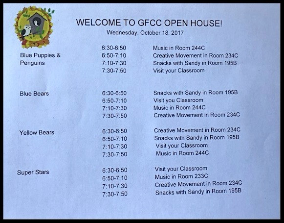 Second Night for Open House at GFCC; Wednesday, October 18, 2017; 6:30 - 7:50
