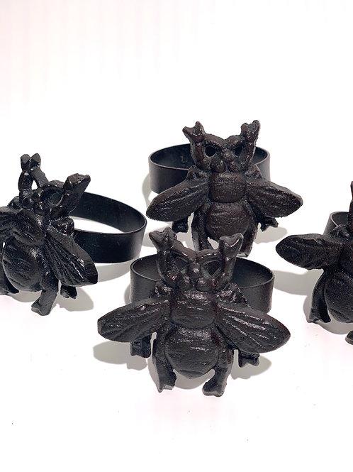 Bronze Metal Bee Napkin Rings