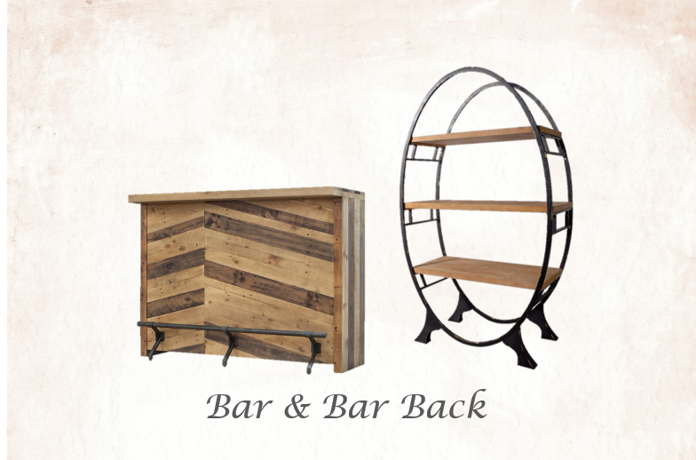 5' Wide Rustic Bar & Bar Back