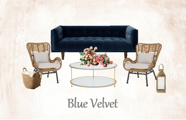 Blue Velvet Lounge Set