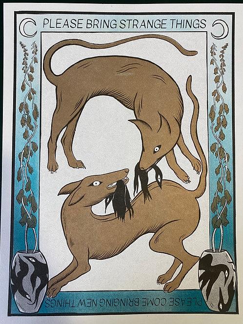Gold Dog Print by Kiah
